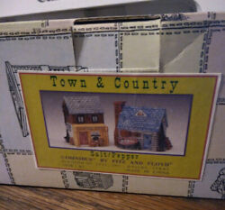 Fitz And Floyd Salt And Pepper Set Town And Country Omnibus General Store And Cottage
