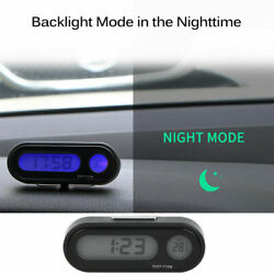 Digital LCD Table Auto Car Dashboard Desk Time Display Small Clock Thermometer