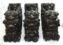 Large Antique Hand Carved Wood Dragons Architectural Salvage Lot Of 3