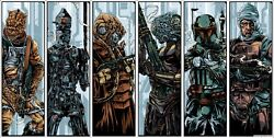 Star Wars - The Bounty Hunters By Ken Taylor - Set Of 6 - Rare Sold Out Mondo