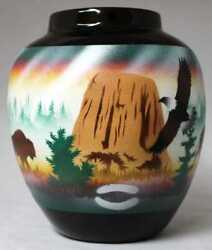 Authentic Cedar Mesa Pottery - Indian Hand Painted Classic Black/devils Tower 6