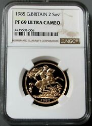 1985 Gold Great Britain Proof 2 Pound Sovereign Coin Ngc Pf 69 Ultra Cameo