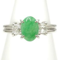 Platinum 900 Ring 9.5 Size Jade 1.06 Diamond About5.3g Free Shipping Used