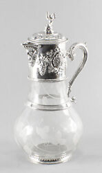 Vintage Large English Silver Plated And Glass Claret Jug 20th C