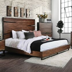 1pc Queen Size Bed Two Tone Design Rustic Style Furniture Walnut Finish Antique
