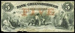 1857 The Bank Of Greensborough, Georgia 5 Dollar Agriculture Obsolete Note