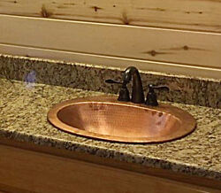 Drop-in Pure Copper Bathroom Sink Shiny Hammered Finish, 18 Gauge, Ez Install