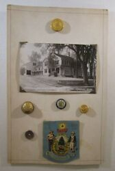 State Of Maine Buttons With Postcard And Centennial Pin Back On Theme Card