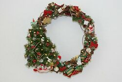 Vintage Hand Crafted Woven Wood Christmas Wreath With Retro Ornaments And Tree