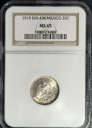 1919 M Mexico 20 Centavos == Ms-65 Ngc == One Year Type Coin == Nice Gem