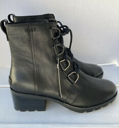 Nwt Sorel Cate Waterproof Lace-up Leather Boot 10us Black