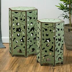 Set Of 2 Antiqued Green Metal Accent Side End Tables, Crackled Distressed Finish