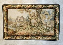 VTG Tapestry quot;GARDEN MANSIONquot; WALL HANGING 36quot;x56quot; RARE