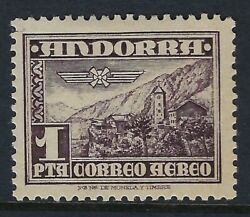 Andorra Spanish1951 Airmail 1p Deep Purple-brown Sg54 Mint Hinge Attached
