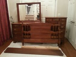Vintage Sterling House Early American Furniture Solid Cherry Double Bedroom Set