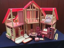 Vintage 1985 Authentic Barbie Dream House Pink White Some Furniture Collectible