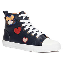 Love Moschino Black High Top Lace Up Heart Sneakers 6 $124.99
