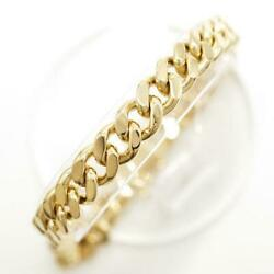 18k Yellow Gold Bracelet About20.5cm Curb Chain 2sides Free Shipping Used