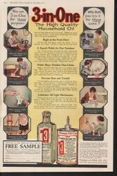 1917 Three In One Household Oil Kitchen Bottle Glass Ad-14681