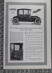 1913 Willys Overland Coupe Car Auto Woman Toledo Motor Vintage Ad Bu39