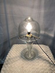 Vintage French Art Deco Style Handmade White Clear Glass Table Lamp 2