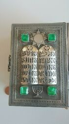 Vintage Sterling Silver Hebrew Bible With 36 Carats Of Natural Emeralds