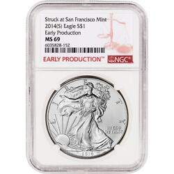 2014 S American Silver Eagle - Ngc Ms69 Early Production Label
