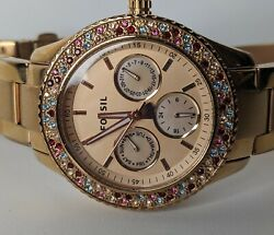 Fossil Women#x27;s Stella Watch Crystal Rose Gold Multifunction ES3198 $44.25