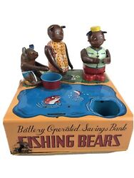 Vintage Fishing Bears Battery Operated Savings Bank Tin Litho W Toys Parts As Is