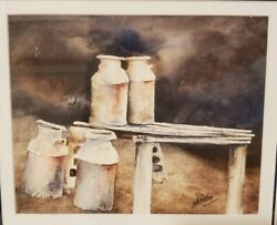 John R. Carlson Painting Of Milk Containers Country Farmhouse Decor