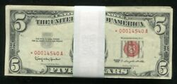 Lot Of 100 1963 5 Star Red Seal Legal Tender United States Notes Vg-vf B