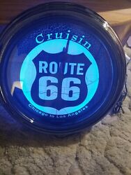 Brand New U.s. Route 66 Round Wall Neon Clock 1994 Chicago To Los Angeles