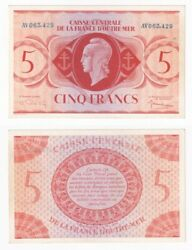 French Equatorial Africa 5 Francs Banknote L.1944 P.15b - Unc.
