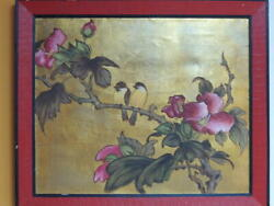 Framed Chinese Oil Painting 22x18 Gold Background Flowers Birds 25.5x21.75