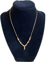 22k Solid Yellow Gold And Black Beads Mia Necklace