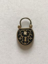 Antique Black Enamel Victorian Hinged Lock With Hair,10-14k Gold,mini,mourning