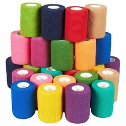 24 Pack Self Adhesive Bandage Wrap Cohesive Tape for People Pets Vet 3quot;x5Yards