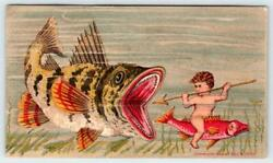 1883 Fantasy Cherub Rides And Spears Fishwilde And Cochicagogeorge Hayes Litho