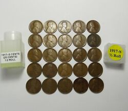 1917-s Lincoln Wheat Cents Half Roll 25 Solid Date Teens Lot S144