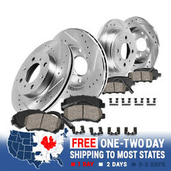 Front+rear Drill Slot Brake Rotors And Ceramic Pads For 2007 2008 Mini Cooper