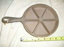 Antique Vintage Cast Iron 6 Skillet Frying Pan, With 6 Divisions, Corn Bread