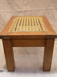 Vintage Wooden Caned Foot Stool Plant Or Display Stand 10 X 14 X 8 3/4 High