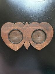 Antique Carved Wood Double Picture Frame, 1890-1900's,double Heart Shape,fab