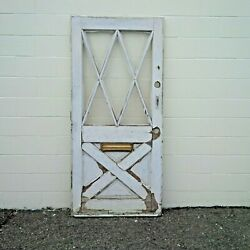 Antique Diamond Pane Front House Door Solid Wood Mail Slot 78 X 36 Chippy Paint