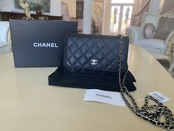 100% Authentic CHANEL Wallet on Chain Lambskin Quilted WOC Black Silver Hardware $1590.00
