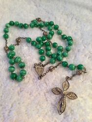 Antique Italy 800 Silver Rosary Filigree Green Glass