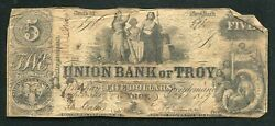 1859 5 The Union Bank Of Troy New York Obsolete Currency Noteandnbsp