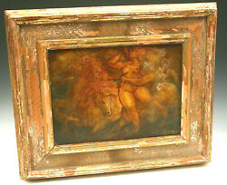 Antique Oil Painting On Board Charles Burdick Listed Artist Massachusetts Nymph