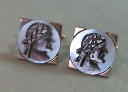 Mens Vintage Signed Swank Mother Of Pearl Pirate Cufflink Costume Jewelry D73