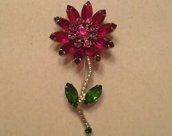Vintage Signed Weiss Ruby Emerald Flower Brooch, Vintage Floral 10k Yellow Over
